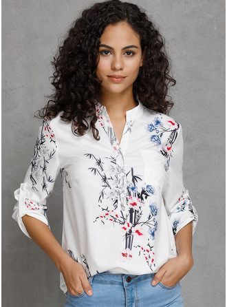 3/4 Sleeves Cotton V Neck Blouses