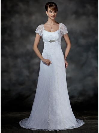 Empire Scoop Neck Court Train Lace Wedding Dress With Beading