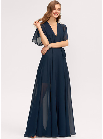 V-Neck 1/2 Sleeves Maxi Dresses