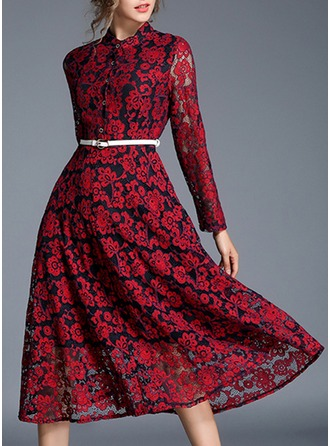 Polyester/Lace With Lace Midi Dress