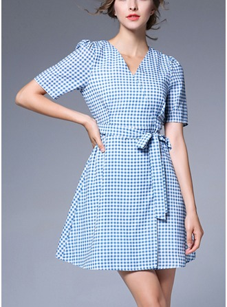 Linen With Bowknot/Stitching/Crumple Above Knee Dress