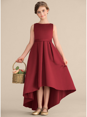 Scoop Neck Asymmetrical Satin Junior Bridesmaid Dress