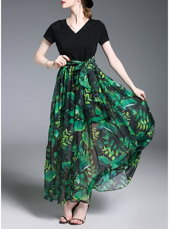 Chiffon With Bowknot/Print/Crumple Maxi Dress