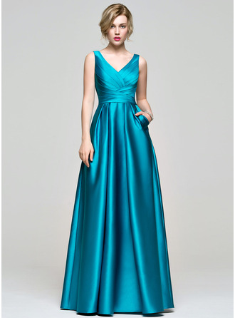 V-neck Floor-Length Satin Bridesmaid Dress With Ruffle Pockets