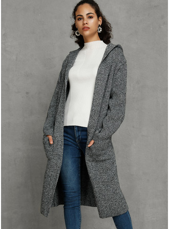 Solid Pocket Hooded Cardigans Sweaters