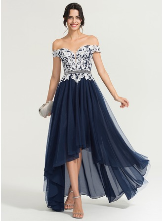 Off-the-Shoulder Asymmetrical Tulle Evening Dress With Beading Sequins