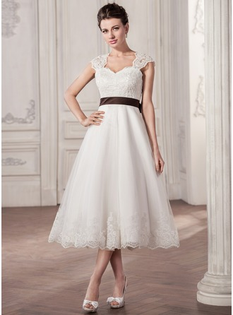 A-Line/Princess Sweetheart Tea-Length Tulle Lace Wedding Dress With Sash Bow(s)