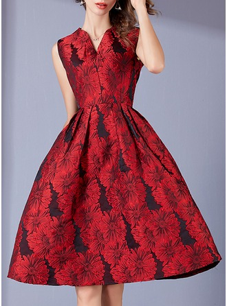 Polyester With Jacquard/Embroidery Knee Length Dress