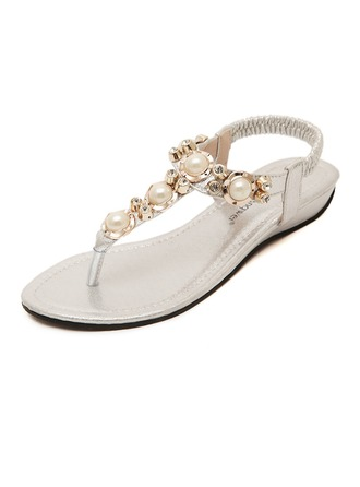 Women's Leatherette Flat Heel Flats Peep Toe Slingbacks With Crystal Pearl