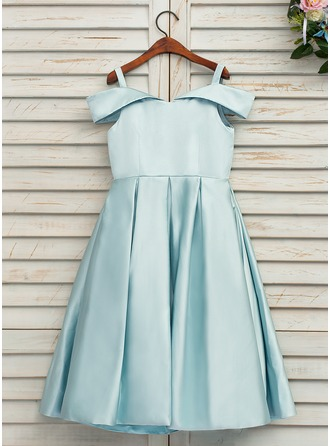Tea-length Flower Girl Dress - Satin Sleeveless Off-the-Shoulder