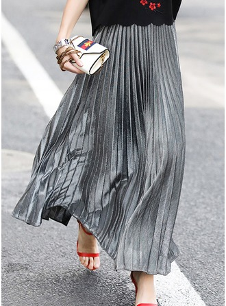 Pleated Skirts Maxi Plain Cotton Blends Etekler