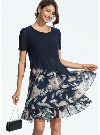 Chiffon With Embroidery Above Knee Dress