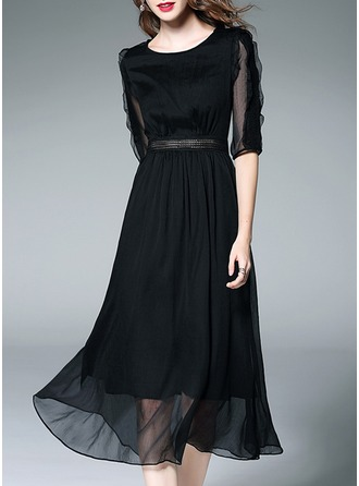 Chiffon With Lace/Stitching/Ruffles/See-through Look Midi Dress