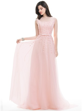 A-Line/Princess Scoop Neck Sweep Train Tulle Prom Dress With Beading Appliques Lace Sequins Bow(s)