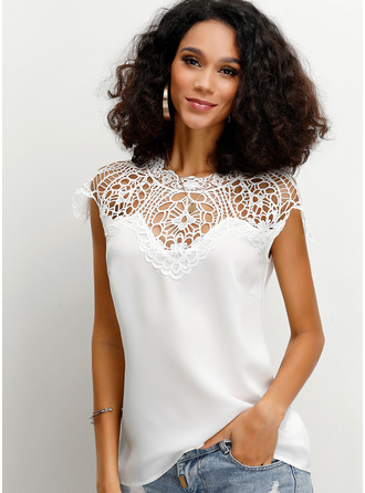 Short Sleeves Chiffon Round Neck ()