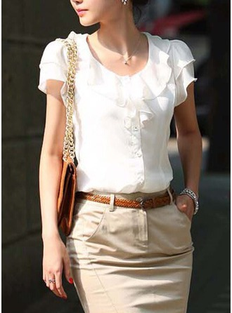 Plain Short Sleeves Polyester Round Neck Shirt Blouses Blouses