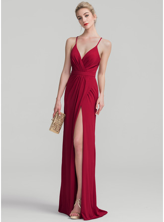 Sheath/Column V-neck Floor-Length Jersey Prom Dress With Ruffle