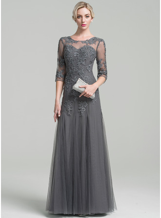 Scoop Neck Floor-Length Tulle Mother of the Bride Dress With Beading Sequins