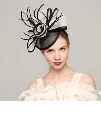Dames Élégante Batiste/Feather avec Feather Chapeaux de type fascinator/Kentucky Derby Des Chapeaux/Chapeaux Tea Party
