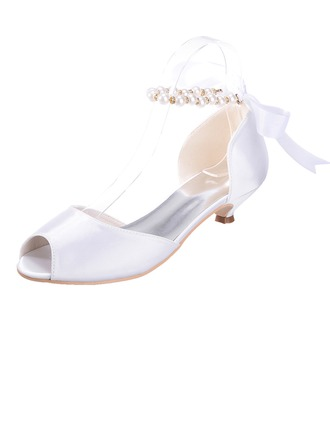Women's Satin Kitten Heel Peep Toe Sandals With Imitation Pearl Lace-up