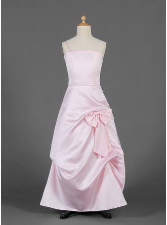 A-Line/Princess Floor-Length Satin Junior Bridesmaid Dress With Ruffle Bow(s)