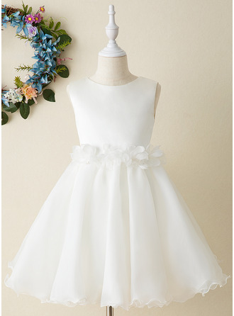 Po kolena Flower Girl Dress - Organza Bez rukávů Scoop Neck S Květiny Luk