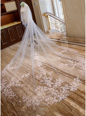 1450a5033872 Two-tier Lace Applique Edge Cathedral Bridal Veils With Lace (006163739) -  Wedding Veils - JJ s House