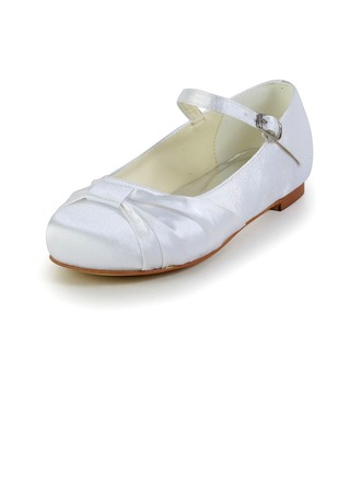 Kids' Satin Flat Heel Closed Toe Flats With Buckle Ruched