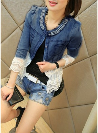 Denim Long Sleeves Denim Coats