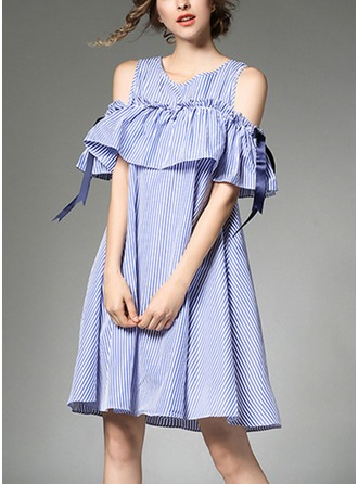 Cotton Blends With Bowknot/Stitching/Ruffles Above Knee Dress