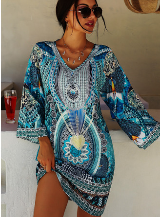 Print Shift V-Neck 3/4 Sleeves Midi Boho Casual Vacation Tunic Dresses