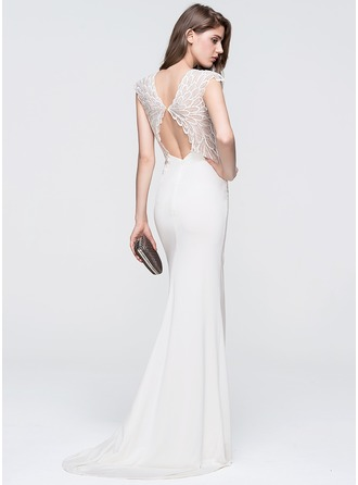 Trumpet/Mermaid Scoop Neck Sweep Train Jersey Prom Dress With Lace
