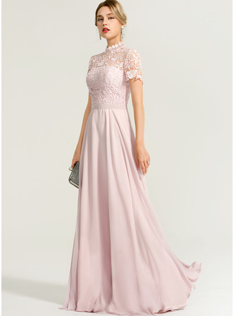 High Neck Floor-Length Chiffon Bridesmaid Dress