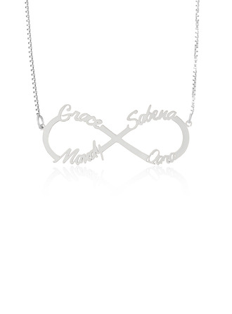 Custom Sterling Silver Signature Eternity Four Name Necklace Infinity Name Necklace -