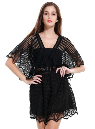 Lace With Stitching Above Knee Rompers