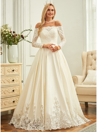 Sweep Train Satin Wedding Dress With Beading Sequins