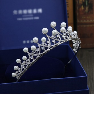 Ladies Exquisite Imitation Pearls/Zircon Tiaras With Cubic Zirconia