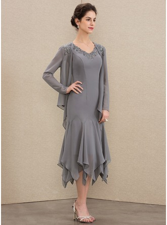 V-neck Tea-Length Chiffon Mother of the Bride Dress With Lace Cascading Ruffles