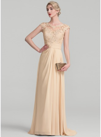 A-Line/Princess Scoop Neck Sweep Train Chiffon Lace Evening Dress With Ruffle Beading