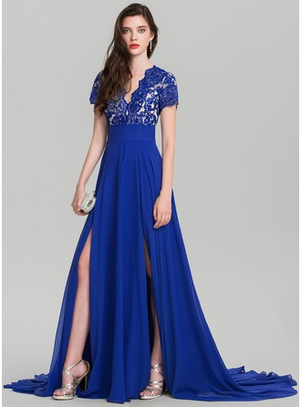 A-Line/Princess V-neck Sweep Train Chiffon Evening Dress With Sequins Split Front