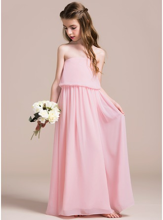 Strapless Floor-Length Chiffon Junior Bridesmaid Dress