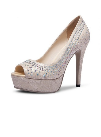 Femmes Satiné Talon stiletto À bout ouvert Escarpins Beach Wedding Shoes avec Strass