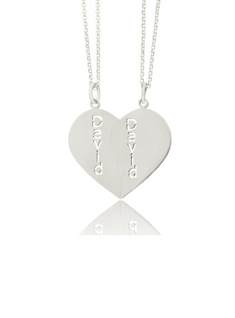 Personalized Sterling Silver Heart Couple Two Name Necklace