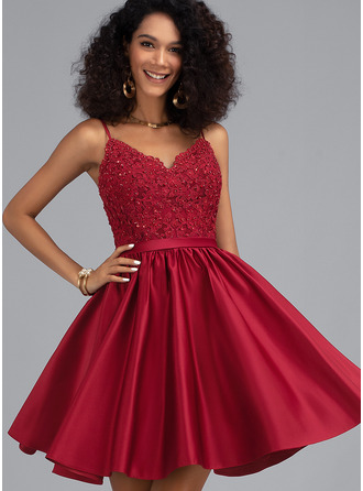 V-neck Short/Mini Satin Prom Dresses With Beading Sequins