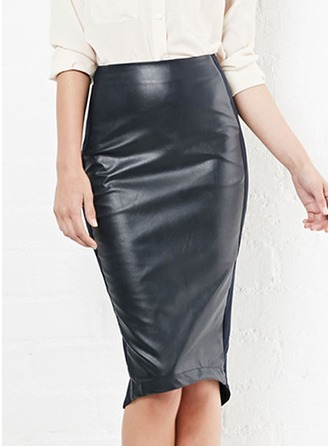 Pencil Skirts Knee Length Plain Leather/PU Etekler