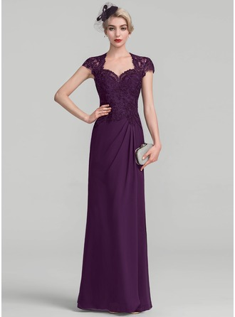 A-Line/Princess Sweetheart Floor-Length Chiffon Lace Evening Dress With Ruffle