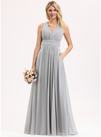 V-neck Floor-Length Chiffon Bridesmaid Dress With Ruffle Bow(s) Pockets
