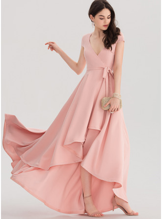 V-neck Asymmetrical Stretch Crepe Prom Dresses