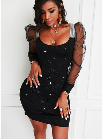 Sequins Solid Bodycon Square Neck Long Sleeves Puff Sleeves Midi Little Black Party Dresses