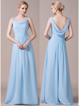 Cowl Neck Floor-Length Chiffon Bridesmaid Dress With Ruffle